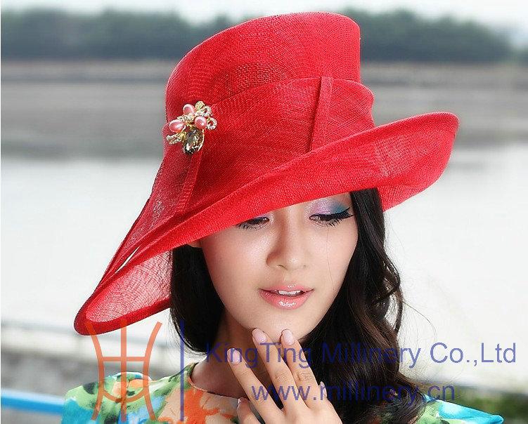 Free Shipping 2015 New Arrival Elegant Women's Summer Hat Sinamay Hat Sinamay Fabric Sinamay Base For Formal Dress Red Rose Hat(China (Mainland))