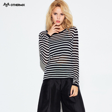 Othermix2016  new black and white striped blouse sleeve head thin cotton Crewneck Sweater Girl(China (Mainland))