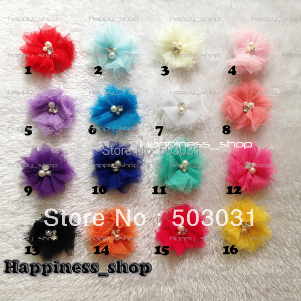 60pcs/lot DIY Soft Chic Mesh Hair Flowers With Rhinestones+Pearls Artificial Fabric Flowers For Baby Headbands