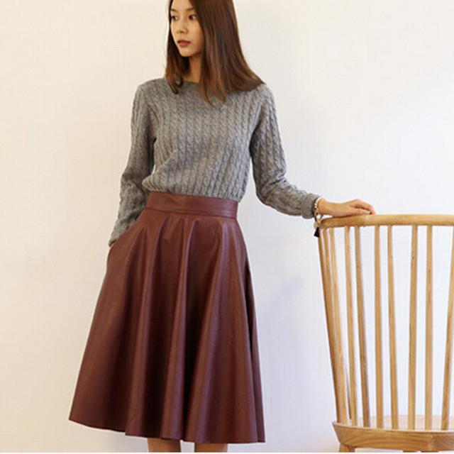 Высокая талия женщина искусственная кожа юбка 2015 новинка женщина весной старинных большое колебание длинное миди юбки черный красный QT128