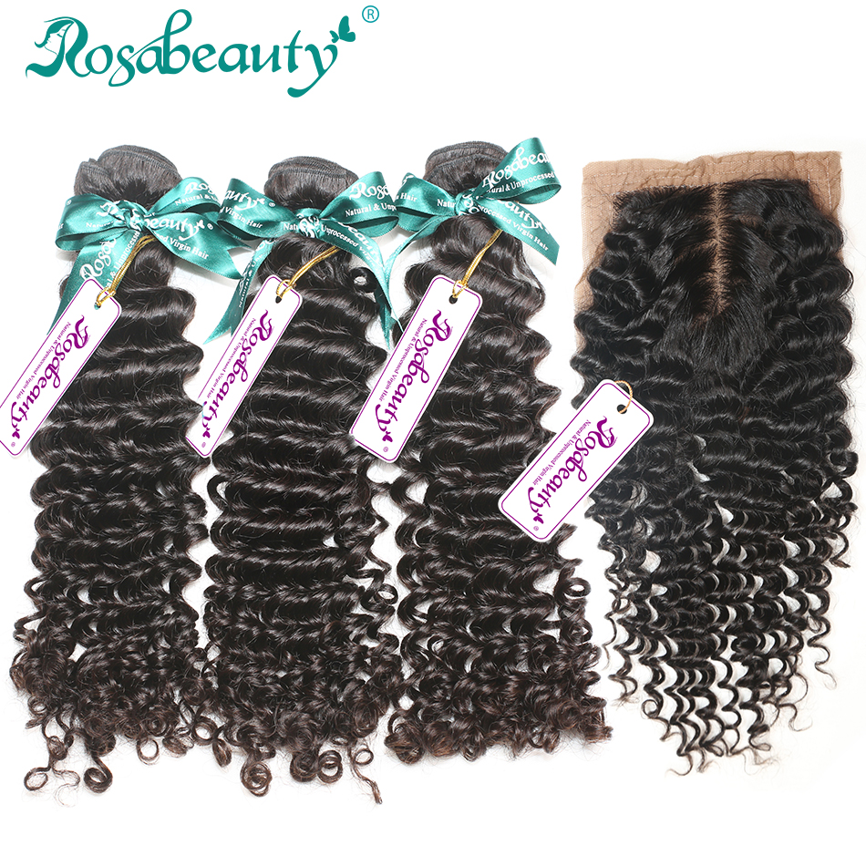 3Pcs Rosa Hair Malaysian Virgin Hair Deep wave Bundles with 1 Piece Silk Base Closure 4Pc/Lot Human Virgin Hair Free shipping