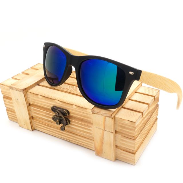 Высокое качество винтаж черный квадрат солнцезащитные очки с бамбука ноги зеркальный ...