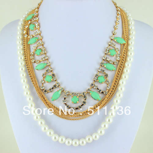 2013 New Design Multi Layer Gold Chain Fake Pearl Claw Crystal Acrylic Statement Necklaces KK-SC221 free shipping