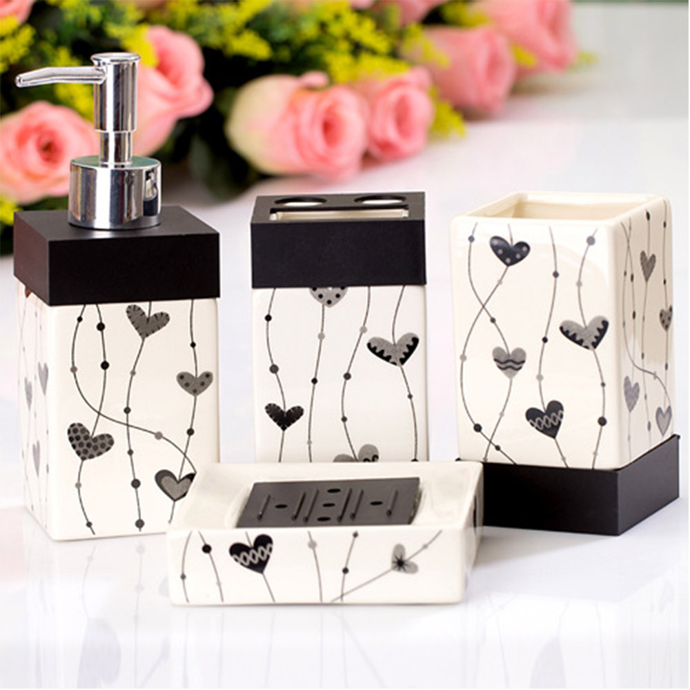 Creative Bathroom sets 4 pcs ceramics bath accessories Square black and white painted tooth brush holder wash gargle suit(China (Mainland))