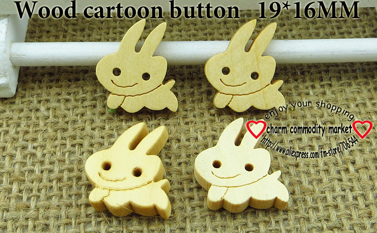 40PCS 16*19MM wood hare cartoons buttons coat boots sewing clothes accessories WCB-130(China (Mainland))