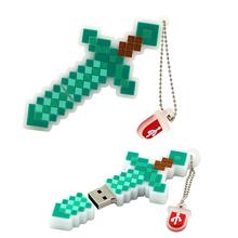 Wholesale price Hot Minecraft treasured sword usb 4GB 8GB 16GB 32GB 64GB usb pen drive, cross model usb flash memory Stick(China (Mainland))