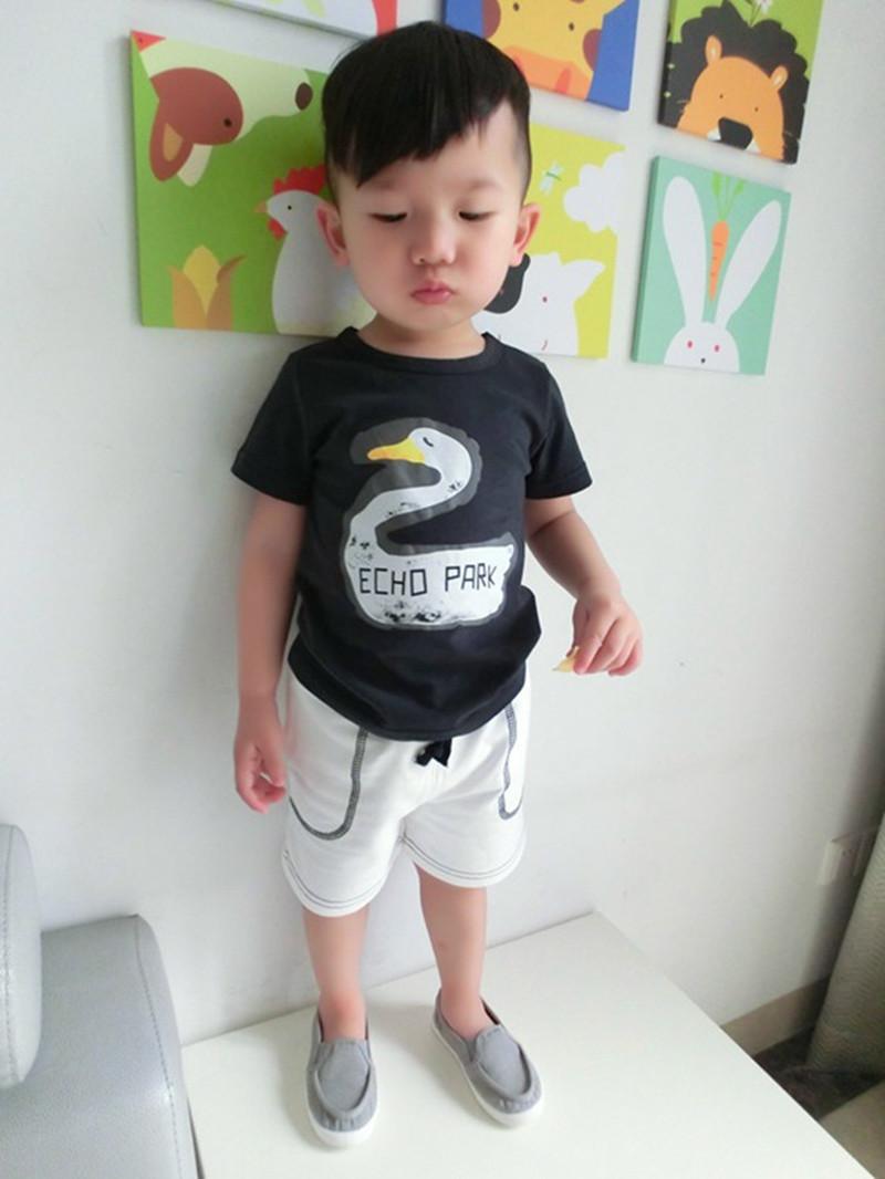 2015 Summer Bobo Choses Girls Boys Shirt Echo Park Print Cotton Short Sleeve Baby Children's Clothing for Kids New Fashion YA120(China (Mainland))