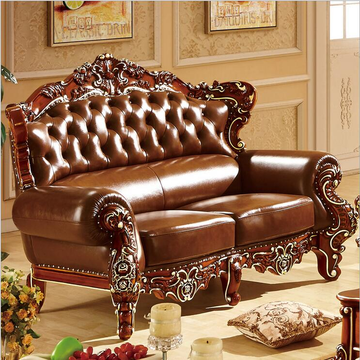 High Quality European Antique Living Room Sofa Furniture Genuine Leather Set 10303 In Living