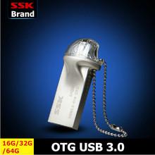 SSK SFD247 OTG USB 3.0 Flash Drives 100% 64G 32G 16G Smart Phone Tablet PC External Storage Micro Pen Drive Memory Usb Stick