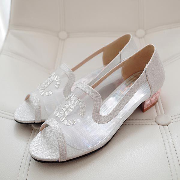 2015 summer new womens flat shoes fashion elegant mesh fish mouth rhinestone sandals comfortable flat shoes D177<br><br>Aliexpress