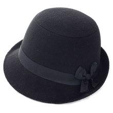6 colores Venta Caliente de Las Mujeres Formales Fedora Bowknot Sombreros de Fieltro Gorros de Lana Artificial de Alta Calidad de Invierno Sombreros de Ala