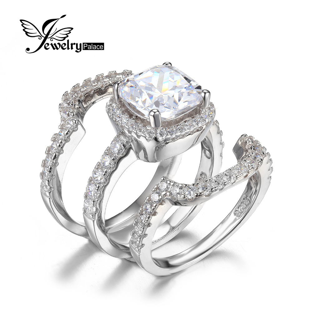 jewelrypalace cushion 5ct cz 3 pc wedding band stackable