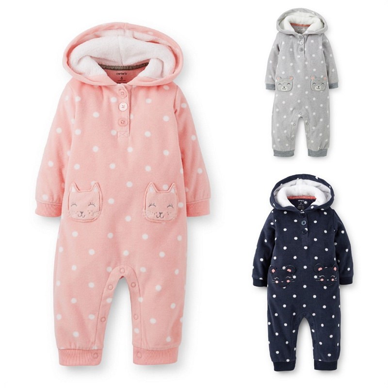 Carters Winter Long-sleeved Plus velvet Jumpsuit Baby Thick Fleece Kids Clothing Infants Romper Baby Boy/ Girl Hooded Jumpsuit(China (Mainland))