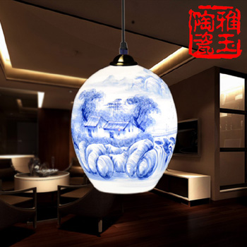 LED E27 110V 220V Chinese Style Big Duck's Egg Country Life White and Blue Porcelain Pendant Lamp For Living Room Bedroom(China (Mainland))