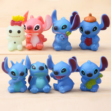 8pcs Anime Stitch Anime Cartoon Stitch Mini PVC Action Figure Toys Dolls Brinquedos Best Gift Micro Landscape Ornaments