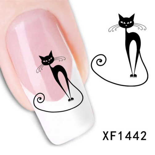 [D-XFXF1442]Loveliness Cat Water Transfer Nail Stickers Gel Beauty Decal Makeup temptation Cartoon Cat Sweetheart Animation(China (Mainland))