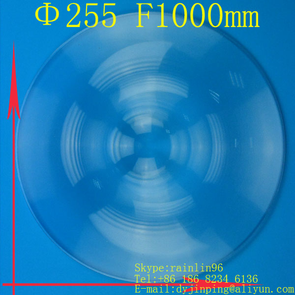Diameter 255 mm long focal length 1000mm fresnel lens Solar concentrator lens free shipping solar energy lens(China (Mainland))