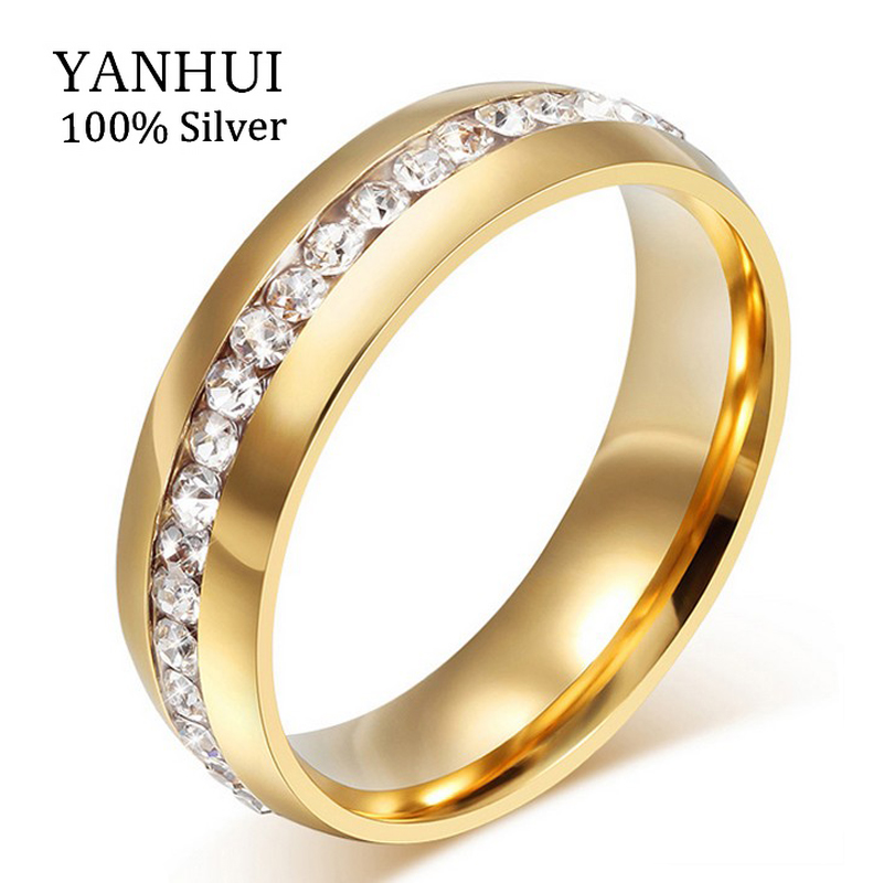 Lose Money 95% OFF!!! Never Fade Solid Gold Plated CZ Diamond Wedding Rings For Women 361L Stainless Steel Ring Wholesale JZR042(China (Mainland))