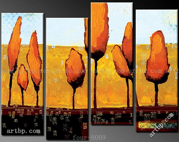Oil Painting Hand Painted Free Shipping Happy Flowers Painting The Living Room Decorative 4 Pcs Set Wall Art Spell Flower Style(China (Mainland))