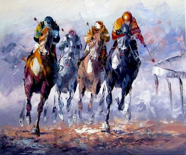 Horse race Hand Paint Painting Canvas Home decor Vans of the wall art home decoration Unique gift new 2014(China (Mainland))