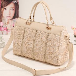 2015 new design woman leather handbags High quality the princess lace shoulder bag Zipper decoration women messenger bags PG1066(China (Mainland))