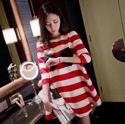 2016 new spring pregnant women loose Babydoll Dress Code women bow fashion maternity sleeve stripe seven cute bow dress(China (Mainland))