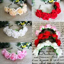 Rose Floral Flower Garland Crown Headband Hair Band Bridal Festival Holiday Headwear