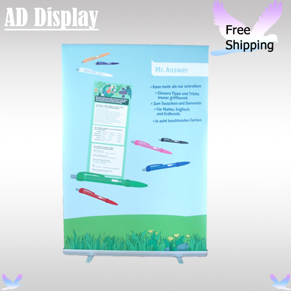 Free Shipping 150*200cm Tradeshow Booth Standard Portable Aluminum Roll Up Banner Expand Display Stand With PVC Synthetic Paper(China (Mainland))