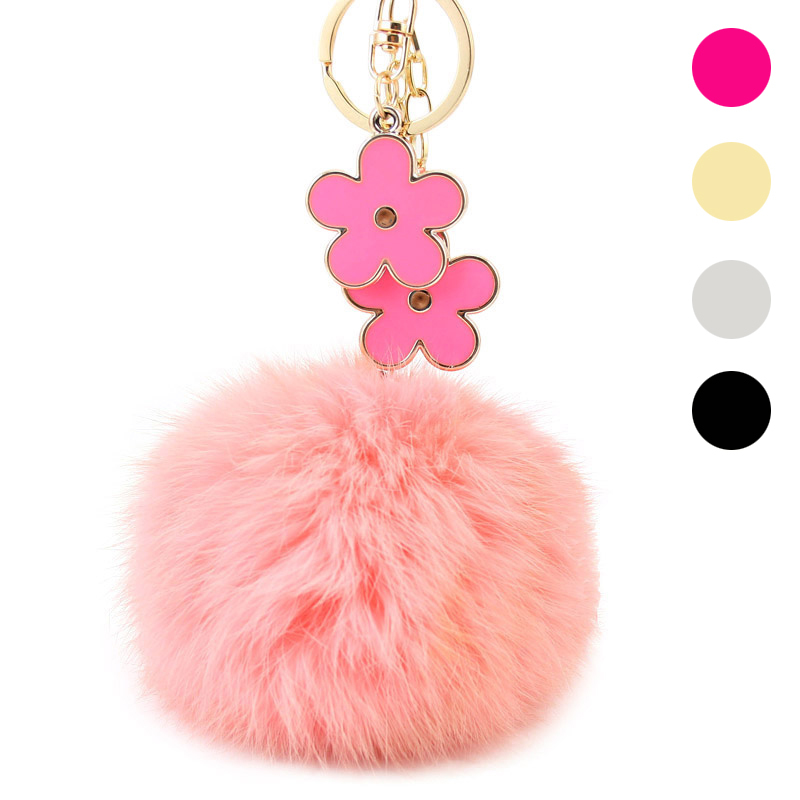 Rabbit Fur Ball Keychain Fashion Trendy 18k Gold Plated Round Zinc Alloy Big Size Flower Key Chain For Women Bag Charms PWK0360(China (Mainland))
