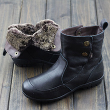 Womens Shoes Australia Fur Boots Black/Brown Genuine Leather Slip on Flat Ankle Boots Woman Winter Boots Shoes (858-5)(China (Mainland))