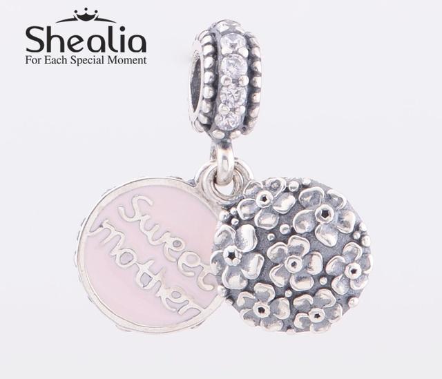 Shealia стерлингового серебра 925 розовой эмалью сладкий мать мотаться подвески подвеска для женщин автор браслеты сделай сам ювелирное LW368