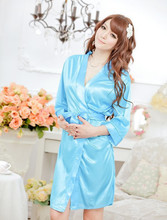 New 2015 Hot Sexy Women Satin Lace Robe Sleepwear Nightdress 5 Colors Nightgowns Indoor Clothing Bathrobes negligee vetement(China (Mainland))