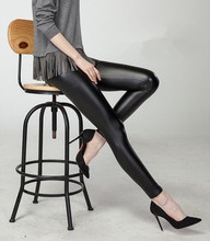 Black women leggings faux leather high quality slim leggings plus size High elasticity sexy pants leggins free size(China (Mainland))