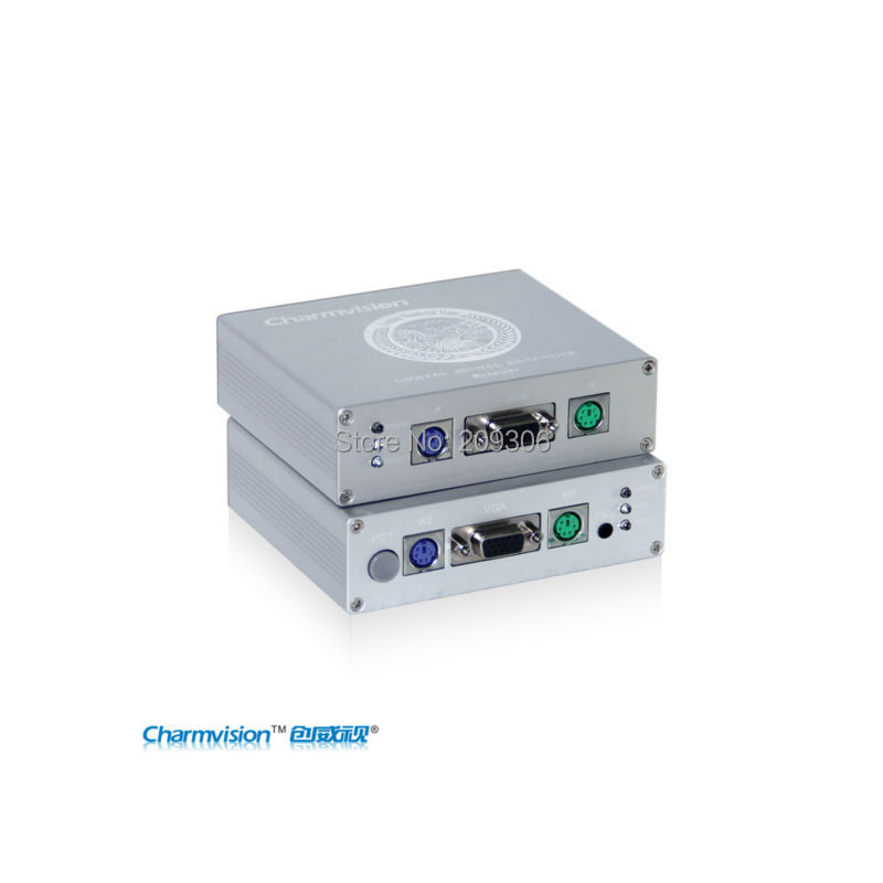 Charmvision EKP300HR 300 meters PS2 KVM extender with adjustment and anti-lightning UTP cable video Extender with power switch(China (Mainland))