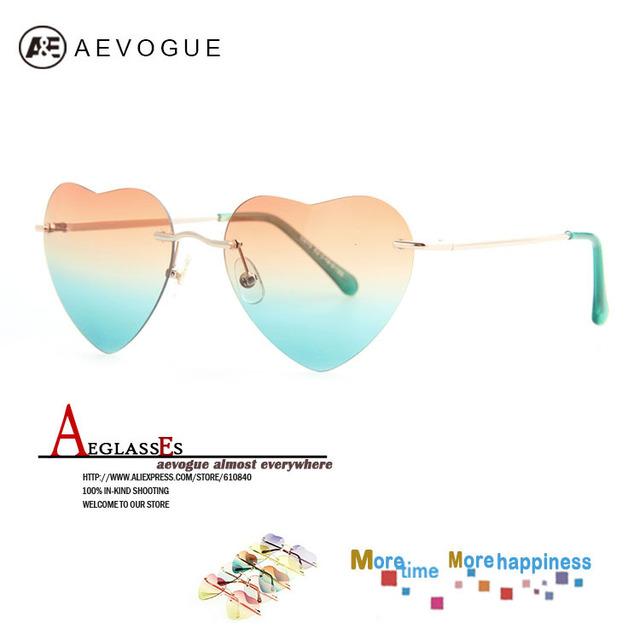 Aevogue бесплатная доставка в форме сердца без оправы металлический каркас солнцезащитные очки женщин старинные высокое качество бренда солнцезащитные очки 20 шт./лот AE0144
