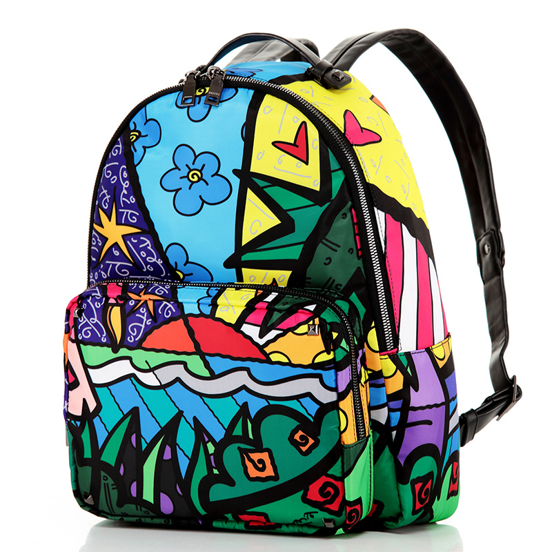 Wild Hot Sale Brand Printed Women Vintage Double Shoulder Bag Multi Color Ropes School Travel Bags Satin & PU Graffiti Backpack(China (Mainland))