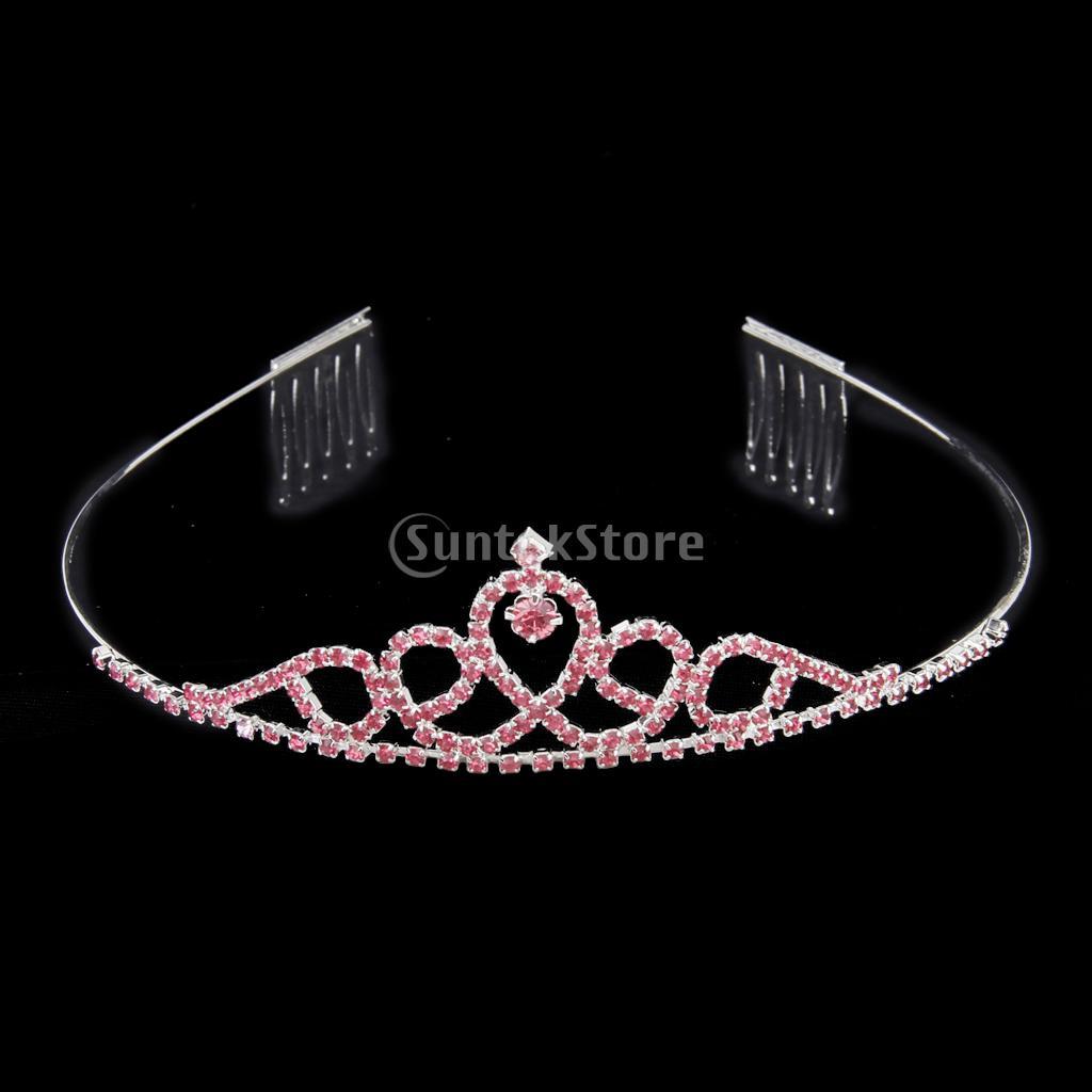 New Arrivals 2015 Wedding Party Children Flower Girl Crown Headband Tiara with Comb Pink Rhinestone Free