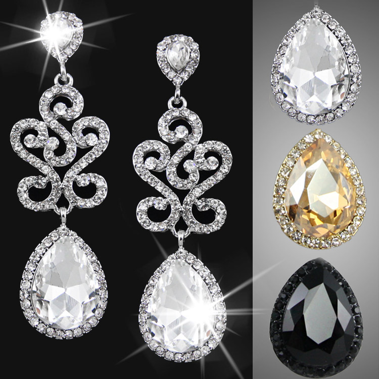 2015 New Brand Crystal Wedding Earrings Rhinestone Earrings for Women Sliver plated Earrings Valentine day gifts ers-g87(China (Mainland))