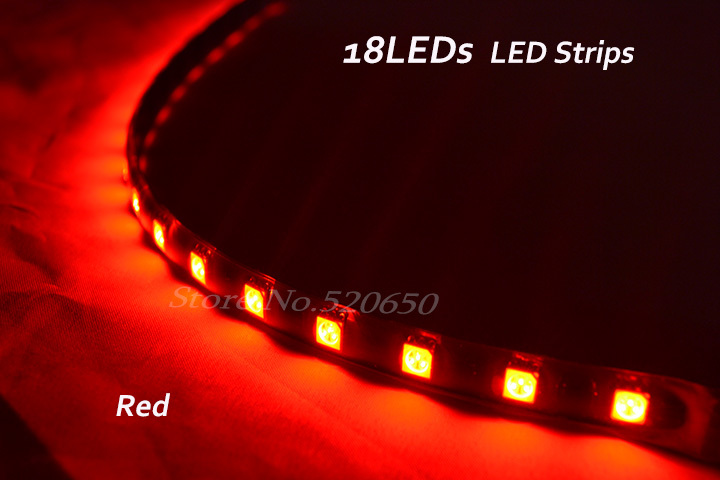 Promotional Novelty Shinning Items 8 Red mini18LEDs 1Ft Waterproof Vehicle&Car LED Strip Flexible Lighting&Ribbon&Tape - Amazing Vehicle Strips Club store