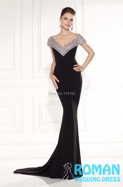 Black Lycra Sheath Long V neck Beaded Edge Open Back Crisscross Beads Strips Luxury 2015 Evening Dresses Vestidos De Noite - Sheepherder Store store