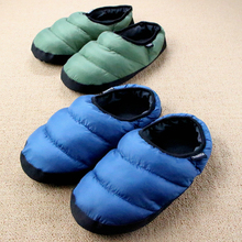 New 2016 Winter Warm Down Cotton Slipper Couple House Slippers Cotton-padded Indoor Pantufa Pink Terlik Home Shoes Women Men(China (Mainland))