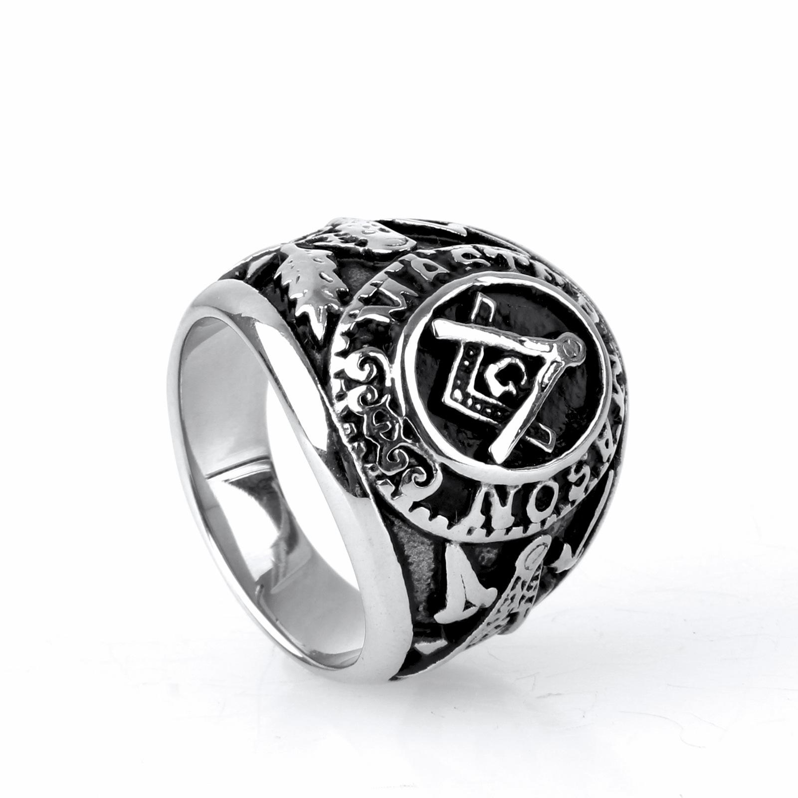 Manufacturers Selling Europe Stainless Steel Ring Men Jewelry Wholesale Retro Masonic Titanium Rd0079(China (Mainland))