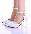 Summer new women white wedding shoe lace flower tassels ankle strap bride shoes female summer hollow