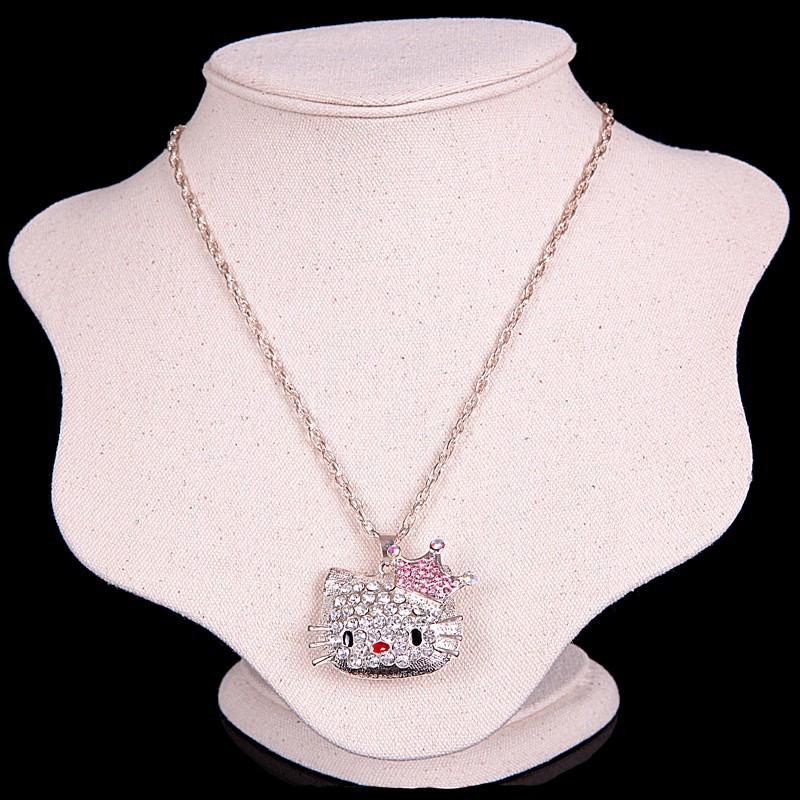 Cute crystals hello kitty pendants chain necklaces fine jewelry collares cristal joyeria bisuteria anime navidad gifts N085(China (Mainland))