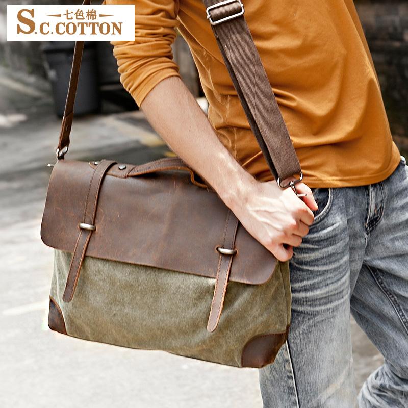 S.C.COTTON Men's Retro Cotton Casual Horsehide Leather Massege Trim Book Messenger Bag Shoulder Bag Camera Canvas Tote Bag(China (Mainland))