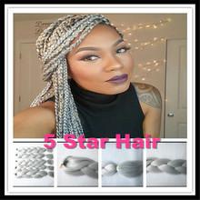 Pure Kanekalon Braiding Hair 50 Shades Gray 24inch 100g/pc 4pcs/6pcs/10pcs ,Synthetic kanekalon Jumbo Braid Hair Grey Hair Bulk
