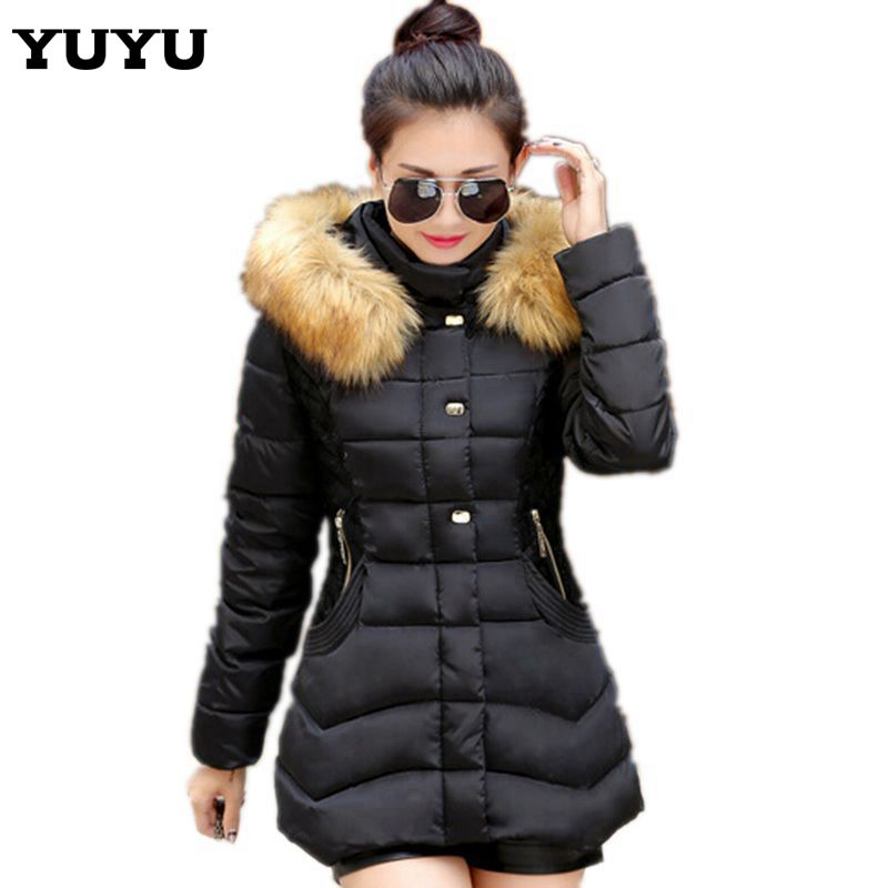 2015 Brand Fur Hooded Plus Size Slim Down Jacket Warm Long Winter Coat Women Parka Womens Winter Jackets And Coats CC2196S(China (Mainland))