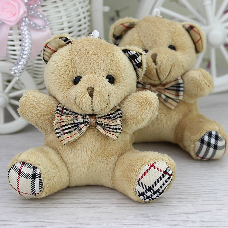 Wholesale H-9cm Brown Plaid bow  teddy Bear,plush toy for cartoon bouquet doll,Promotion Gifts   24pcs/lot(China (Mainland))