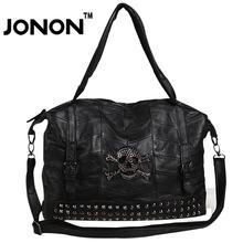 JONON Rivets Skull Sheep Skin Women Messenger Bags Luxury Brand Vintage Stitching Patchwork Genuine Leather Handbag Shoulder Bag