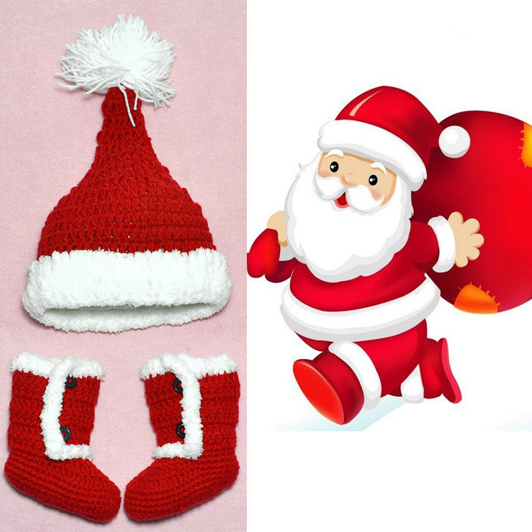 Free Shipping 2016 2pcs/Set Baby Girl Boy Infant Cute Christmas Santa Clause Knitted Hat Cap+Shoes Boots Set Outfit Accessories(China (Mainland))